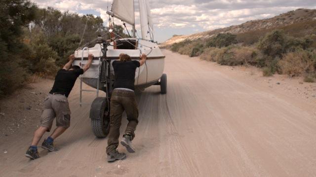 Boot schieben, ohne Wind